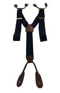 CAS German Clip On Elastic Suspenders Braces Navy Blue Adjustable West Germany