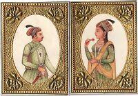 Emperor Jahangir Empress Nur Jahan Rare Mughal Miniature Art Historical Painting