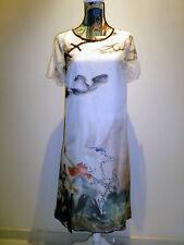 BNWOT CHINESE CHEONGSAM A-LINE CHIFFON DRESS SHORT SLEEVE SIZE S BEIGE FLORAL