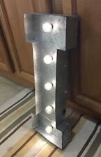 Letter I Light Galvanized Steel Metal Wall Pub Bar Vintage Look Decor Home