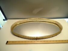 """Vintage Oval Vanity Mirrored Dresser Tray Gold Metal Decorated 20 1/2"""" L X 11"""" W"""