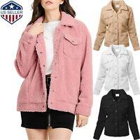 Womens Fur Trucker Jacket Outerwear Tops Winter Warm Hoodie Fluffy Coat Button