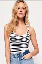 Superdry - White Stripe Cross Back Bodysuit - Size L (14) - BNWT