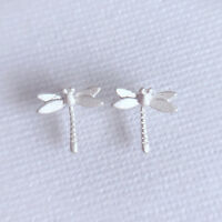 Solid 925 Sterling Silver Cute Dragonfly Insect Studs Earrings Girls Gift Boxed