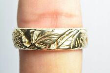 Men's 14k Solid Yellow Gold Caesar Augustus Grape Vine Ring 6.5mm Band