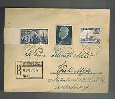 1938 Bydgoszcz Poland Cover to Czechoslovakia Registered