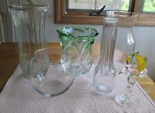 LOT OF 6 GLASS VASES, HOOSIER GLASS, MURANO GLASS & OTHERS. PREOWNED. (FLO)