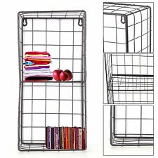 NEW Vintage Style Metal Wall Shelf Unit Rack Storage Cupboard Cabinet 2 Grids