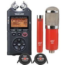 Tascam DR-40 Recorder Bundle + MXL 550/551 Studio Condenser Mics Pair + Cables