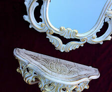 Consola de Pared Oro Blanco Con Espejo antigua Barroco 50x76 Estante baño