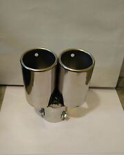 Car Exhaust Silencer Muffler Tip Stainless Steel Dual Pipe Universal