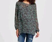 Liz Lange for Target Maternity Blouse Top Sheer Long Sleeve Keyhole Size M L