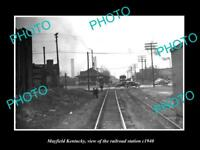 OLD LARGE HISTORIC PHOTO OF MAYFIELD KENTUCKY, THE RAILROAD DEPOT STATION c1940