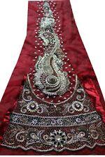 Vintage Indian hand Bead Rhinestone Red Color Lehanga Patch Art Craft 1Free On 5