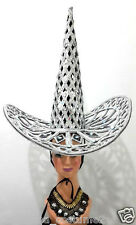 Da NeeNa Silver Giant Witch Hat Cowboy Mexican Showgirl Headdress