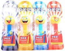 4 Count Brush Buddies PEZ Poppin Assorted Emoji Soft Toothbrushes