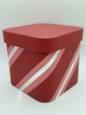 Gift Box/Vanity Box/Trinkets Box/Storage Box,Red&Silver Stripe,5.5 Inches Square