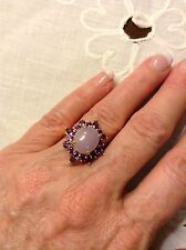 14K Yellow Gold Lavender Jade Amethyst Cocktail Ring Size 5.5 / 5 Grams