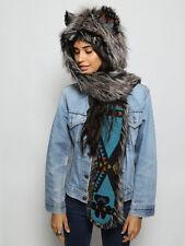 Spirithoods NWT Mystic Silver Fox Italy Spirit Ear Faux Fur Hoods Spirithood