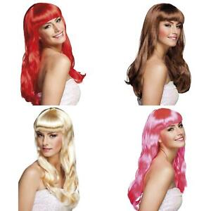 Long Wig With Fringe 4 Colours Ladies Womens Fancy Dress Accessory