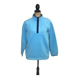LL Bean Unisex Kids High Neck Aqua Blue Fleece Sweater Size XL (d-78)