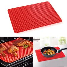 Tool Baking Mat Silicon Non Stick Fat Reducing Cooking Sheet Oven Tray Pan RED