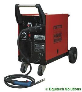Sealey Mightymig210 Gas Gasless MIG Welder 210 Amp with Euro Torch Garage