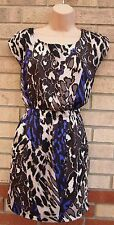 RARE Marrone Crema Viola Leopardo Animale Skater una linea Estate tea dress 10 S
