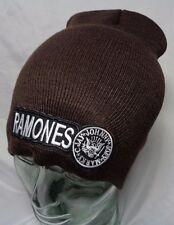 ramones knit hat ski cap beanie brown punk rock alt grunge metal sex pistols
