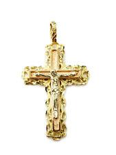 14K Tri Color Gold Cross Crucifix Charm Necklace Pendant ~ 4.7