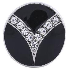 Button Click Druckknopf 6165 Schwarz Kristall - kompatibel mit Chunk Armband