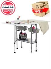 Adjustable Craft Table Storage Drawers Foldable Sewing Machine