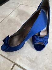 John Lewis satin bow blue satin high stilettos, UK 7