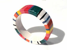 Bijou bracelet jonc bois peint multicolore bangle
