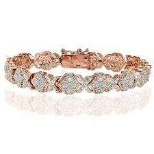 1.00ct Natural Diamond Miracle Set XOXO Tennis Bracelet in Rose Gold Tone Brass