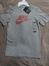Nwt Nike Gray with Red Swoosh Lettering Short Sleeve T-Shirt Youth Size Small