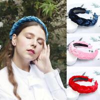 Fashion Women's Velvet Headband Twist Hairband Braided Knot Tie Hair Hoop