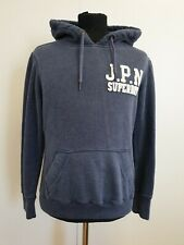 DD294 WOMENS SUPERDRY BLUE WHITE PULLOVER HOODIE UK L 12