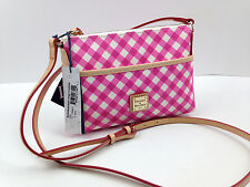 NWT Dooney & Bourke Ginger Pouchette Crossbody Pink Gingham Check Purse Canvas