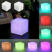 7 Colors Changing LED Lamp Table Desk Night Light Cube Shape Home Party Decor