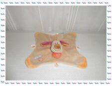 U - Doudou Semi Plat Chien BO Beige Orange Etiquettes Empreintes  Nattou