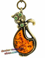 Bronze Solid Brass Honey Baltic Amber Keychain Cat with a Bow Keyring IronWork