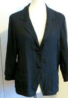 Eileen Fisher Women's XL Black silk cotton black button up blazer shirt jacket