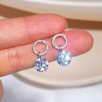 Fashion 925 Silver Zircon Crystal Earrings Stud Drop Dangle Women Jewellery Gift