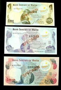 Central Bank of MALTA 1/5/10 POUNDS SPECIMEN Banknotes Uncirculated SET (623)