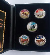 Congo SET 5 x 240 francs 2008 Big Five Africa Silver 5 oz box + COA