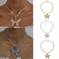 Gorgeous Butterfly Crystal Clavicle Pendant Choker Necklace Women Party Jewelry
