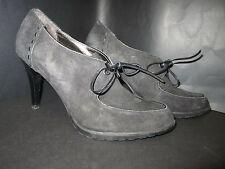 Circa Joan & David Black Suede Bootie Heels & Laces 8 M EUC
