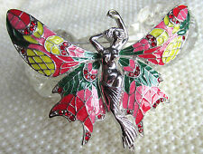 VINTAGE STYLE ART DECO PINK ENAMEL RED CRYSTAL FAIRY BROOCH PIN SILVER TONE