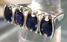 925 silver 4 stone CUT BLUE IOLITE ring UK O/US 7.25